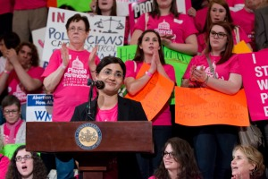 WLP attorney Amal Bass speaking out against pregnancy discrimination in Pennsylvania. (Photo by Sandi Yanisko)
