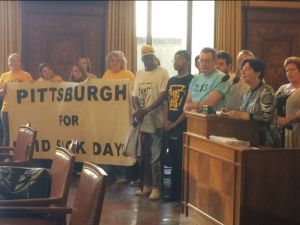 WLP's Sue Frietsche testifies for paid sick leave before Pittsburgh City Council alongside a broad coalition of advocates. (Photo via @sameyjay)