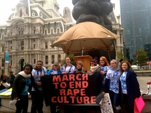 Activists gathered outside of City Hall in Philadelphia to march against rape culture.