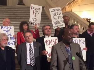 Sam Jones of Restaurant Opportunities Center United calling for one fair wage at the Capitol. (Photo via @RaisetheWagePA)