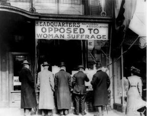 "This organization published a pamphlet that argued against woman's suffrage because ""90% do not want it, and do not care."""