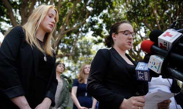 Survivor Tucker Reed, left, closes her eyes in 2013 as she listens to Ari Mostov tearfully reveal details of her sexual assault. Photograph: Don Bartletti/LA Times via Getty Images