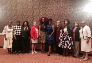 """The panelists at """"Women Working to Win"""" Town Hall in Philadelphia"""