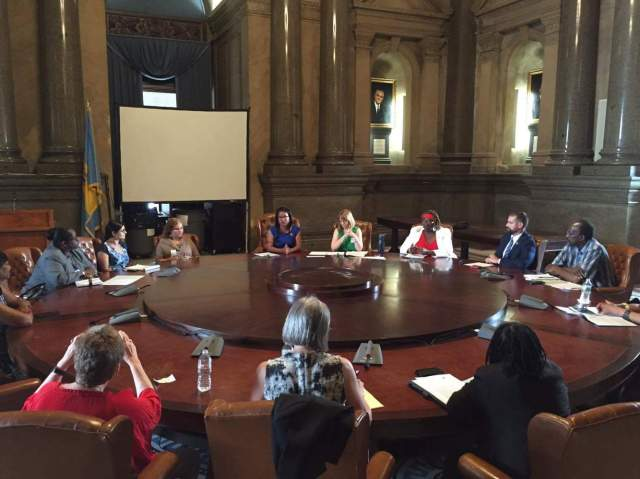 Rep. Donna Bullock and WLP's Tara Murtha lead a discussion on pay inequity in Pennsylvania at City Hall, Philadelphia
