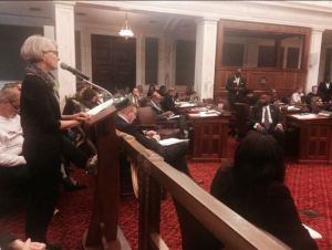 Susan of Women's Medical Fund testifies in favor of Philadelphia City Council passing a resolution calling on Congress to end the Hyde Amendment
